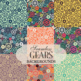 Collection of seamless backgrounds on the topic of colorful gear Stock Photo