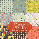 Collection of seamless backgrounds on the topic of dishes. Illustration Royalty Free Stock Photography