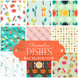 Collection of seamless backgrounds on the topic of dishes. Illustration Royalty Free Stock Image