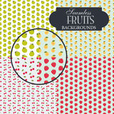 Collection of seamless backgrounds on the topic of fruits Royalty Free Stock Photos