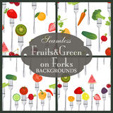 Collection of seamless backgrounds on the topic of fruits and ve stock illustration