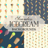 Collection of seamless backgrounds on the topic of ice cream Royalty Free Stock Photography