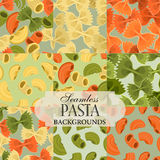 Collection of seamless backgrounds on the topic of pasta Royalty Free Stock Images