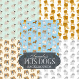 Collection of seamless backgrounds on the topic of pets dogs. Illustration Royalty Free Stock Photo