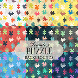 Collection of seamless backgrounds on the topic of puzzle patter Royalty Free Stock Images