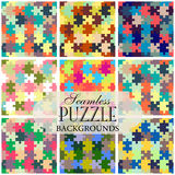 Collection of seamless backgrounds on the topic of puzzle patter Royalty Free Stock Photo
