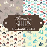 Collection of seamless backgrounds on the topic of ships Royalty Free Stock Images