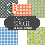 Collection of seamless backgrounds on the topic of sport balls Royalty Free Stock Image