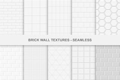 Collection of seamless brick wall textures. White and gray tile textures Stock Images