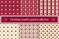 A collection of seamless Christmas textures. For a festive decor and winter mood. Snowflakes and stars. Vector. Eps10 royalty free illustration