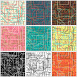 Collection of seamless colorful backgrounds with abstract lines Stock Photos