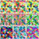 Collection of seamless  colorful backgrounds with hexagons Royalty Free Stock Photo