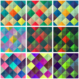 Collection of seamless colorful backgrounds with squares Stock Photography