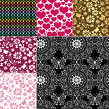 Collection seamless colorful patterns stock illustration