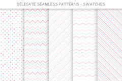 Collection of seamless delicate patterns. Soft colors. Good for your any design and ideas Stock Image