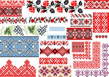 Collection of 25 Seamless Ethnic Patterns for Embroidery Stitch. Collection of 25 editable colorful seamless ethnic patterns for embroidery stitch. Borders and Royalty Free Stock Images