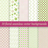 Collection seamless floral backgrounds Royalty Free Stock Photography