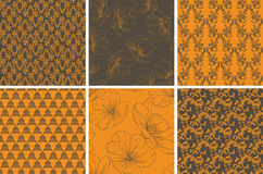 Collection of seamless floral wallpaper Stock Photos