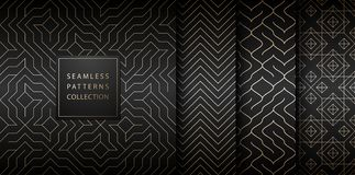 Collection of seamless geometric golden minimalistic patterns. Simple vector graphic black print background. Repeating line