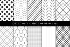Collection of seamless geometric minimalistic patterns. Collection of seamless vector geometric minimalistic patterns Royalty Free Stock Photo