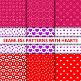 Collection seamless geometric patterns with hearts. Vector illustration Stock Photography