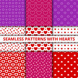 Collection seamless geometric patterns with hearts. Vector illustration Royalty Free Stock Image