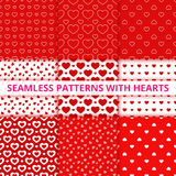 Collection seamless geometric patterns with hearts. Vector illustration Stock Image