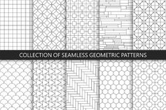 Collection of seamless geometric patterns. Simple vector backgrounds. Countur striped gray design.  Stock Photo