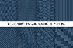 Collection of seamless geometric vector patterns. Striped textile textures. You can find repeatable backgrounds in swatches panel Royalty Free Illustration