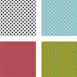 Collection of 4 seamless geometrical patterns. Set of 4 abstract seamless pixel patterns in greyscale and 3 different colors stock illustration
