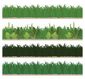 Collection of seamless green grass Royalty Free Stock Images