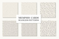 Collection of seamless hand drawn memphis patterns, cards. Mosaic textures. Retro design 80 - 90s. Collection of seamless hand drawn memphis patterns, cards Stock Images