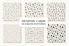 Collection of seamless memphis geometric patterns, cards. Mosaic shapes design. Retro fashion style 80 - 90s. Collection of seamless memphis geometric patterns Royalty Free Stock Image