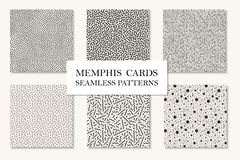 Collection of seamless memphis patterns, cards. Curved, dotted mosaic textures. Retro fashion style 80 - 90s. vector illustration