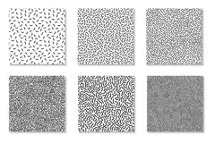 Collection of seamless memphis patterns, cards. Mosaic black and white textures. Fashion design 80 - 90s.  Stock Image