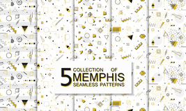 Collection of seamless memphis patterns with geometric shapes. Fashion 80-90s. Collection of seamless memphis patterns with geometric shapes. Gold design stock illustration
