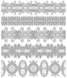Collection of seamless ornamental floral stripes, Royalty Free Stock Photos