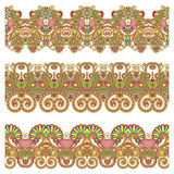 Collection of seamless ornamental floral stripes Royalty Free Stock Photos