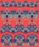 Collection of seamless ornamental floral stripes Stock Photos