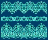 Collection of seamless ornamental floral stripes Royalty Free Stock Images