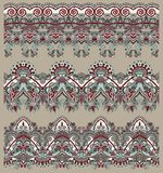 Collection of seamless ornamental floral stripes Royalty Free Stock Photo