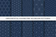 Collection of seamless ornamental vector patterns. Geometric oriental design. You can find repeatable backgrounds in swatches panel royalty free illustration