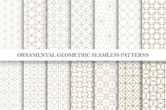 Collection of seamless ornamental vector patterns. Grid geometric oriental design. You can find repeatable backgrounds in swatches panel royalty free illustration