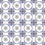 Collection seamless patchwork pattern from Moroccan ,Portuguese tiles in blue and brown colors. Stock Photos