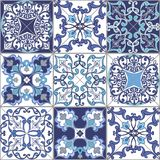 Collection seamless patchwork pattern tiles from Morocco, Portugal in blue colors. Stock Images