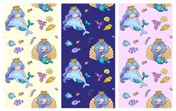Collection of seamless pattern with cute little mermaids, dolphins, fish. Under the sea. vector illustration