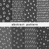 Abstract hand drawn patterns. Collection of seamless patterns from abstract elements. Use in various types of design and decor royalty free illustration
