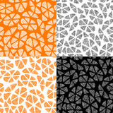 Collection of seamless patterns with abstract orange royalty free stock photo