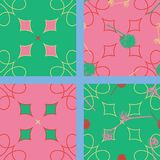 A collection of 4 seamless patterns, all four matching together, 2 with seed balls. On an abstract background. In the colors of 2109 for children, girls from 4 Stock Photos