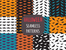 Collection of 16 seamless patterns with bats. Halloween Vector backgrounds Stock Photography